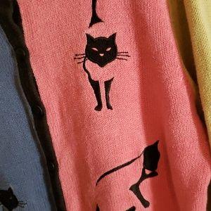 CJ Banks Sweaters - CJ BANKS CATS CARDIGAN 1X PINK BLUE